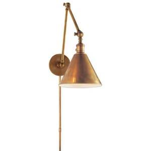 Visual Comfort & Co E.F. Chapman Boston 60W 1-Light Task Wall Light in Hand-Rubbed Antique Brass VSL2923HAB