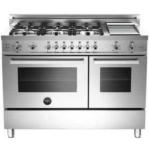 Bertazzoni Spa 47-7/8 in. Double Gas Oven with 6-Burner and Griddle in Stainless Steel BPRO486GGASX