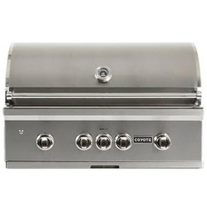 Coyote Outdoor Living C-Series 36 in. 4-Burner 304 Propane Built-in Grill with LED Illuminated Knob and Ceramic Flavoriser in Stainless Steel CC2SL36LP