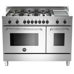 Bertazzoni Spa 47-7/8 in. 6-Burner, Electric Self-Clean Double Oven in Stainless Steel BMAS486GDFSXT