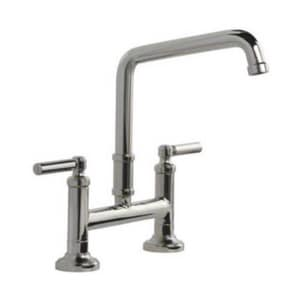 Kallista Quincy™ Two Handle Bridge Kitchen Faucet in Polished Chrome KP2500100CP