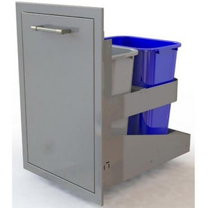 Alfresco 19-5/8 in. Dual Roll Out Trash and Recycle Bin in Stainless Steel AAXETC2D