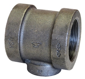 1-1/2 x 1-1/4 x 1/2 in. Threaded 125# Black Cast Iron Reducing Tee IBCITJHD