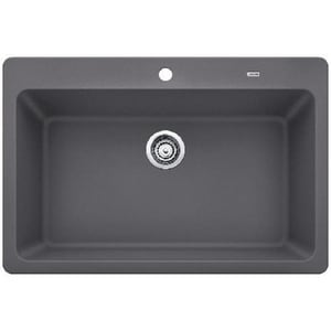 Blanco America Grandis™ 33 x 22 in. 1 Hole Composite Single Bowl Undermount Kitchen Sink in Cinder B442095