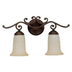 Capital Lighting Fixture Cumberland 11-1/2 in. 100W 2-Light Vanity Fixture in Burnished Bronze with Mist Scavo Glass Shade C1482BB251