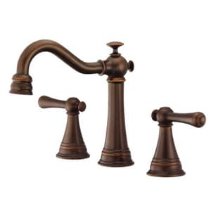 Danze Cape Anne™ 6-3/4 in. 3-Hole Deckmount Widespread Lavatory Faucet with Double Lever Handle in Tumbled Bronze DD304126