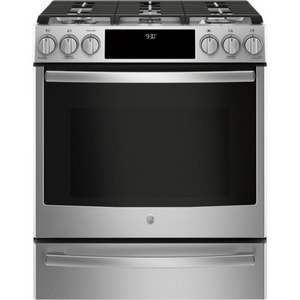 GE Appliances Profile™ 30 in. Slide-In 5-Burner Front Control Gas Range in Stainless Steel GPGS930SELSS