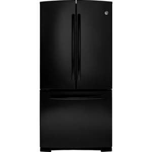 General Electric Appliances 32-3/4 in. 22.1 cf Freestanding French Door Refrigerator with 5 Glass Shelves in Black GGNS22EGE