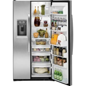 General Electric Appliances Profile™ 35-3/4 in. 24.6 cf Freestanding Side-By-Side Refrigerator in Stainless Steel GPZS25KSESS