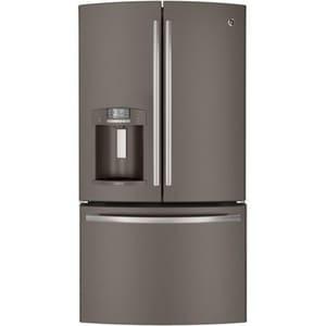 General Electric Appliances 35-3/4 in. 27.7 cf Freestanding French Door Refrigerator in Slate GGFE29HMEES