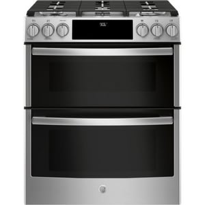 GE Appliances Profile™ 30 in. Slide-In 5-Burner Front Control Gas Double Oven Convection Range in Stainless Steel GPGS960SELSS