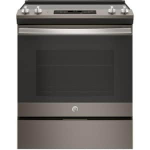 General Electric Appliances 29-7/8 in. 5.3 cf 5-Burner 5-Element Slide-In Electric Range in Slate GJS645ELES