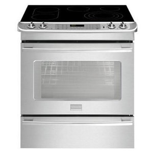Frigidaire 30 in. 5-Burner Ceramic Glass Electric Slide-In Convection Range in Stainless Steel FFPES3085PF