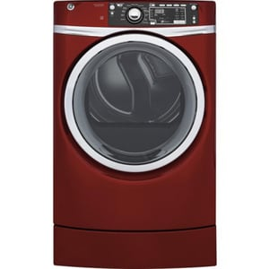 General Electric Appliances RightHeight™ 47 x 34-3/8 in. 8.3 cf Electric Front Load Electric Dryer with Steam in Ruby Red GGFD49ERPKRR