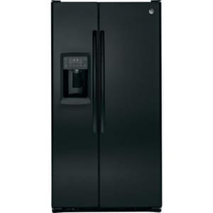 General Electric Appliances Profile™ 35-3/4 in. 23.34 cf Freestanding Side-By-Side Refrigerator with 4 Glass Shelves in Black GPZS23KGEBB