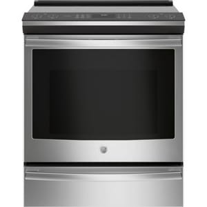 GE Appliances Profile™ 29-7/8 in. Slide-In 5-Burner Front Control Induction and Convection Range in Stainless Steel GPHS930SLSS