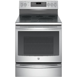 General Electric Appliances Profile™ Series 29-7/8 x 28 in. 5.3 cf 5-Burner 5-Element Freestanding Gas and Electric Convection Range in Stainless Steel GPB930SLSS