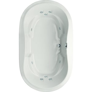 Hydro Systems Savannah 66 x 44 in. Whirlpool Drop-In Bathtub with Center Drain in White HSAV6644AWPWHI
