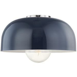 Hudson Valley Lighting Avery 14 in. 60W 1-Light Medium E-26 Base Semi-Flush Mount Ceiling Fixture in Polished Nickel with Navy HUDH199501LPNNVY