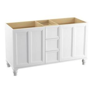 KOHLER Damask® 34-1/2 x 60 in. Vanity with Furniture Leg, 2-Door and 3-Drawer in Linen White K99524-LG-1WA