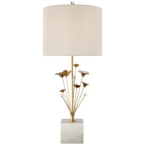 KEATON BOUQUET TABLE LAMP IN GILD AND WHITE MARBLE WITH CREAM LINEN SHADE VKS3116GL