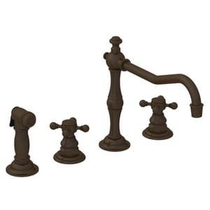 Newport Brass Chesterfield 4-Hole Kitchen Faucet with Double Cross Handle and Sidespray in Oil Rubbed Bronze - Hand Relieved N943/ORB