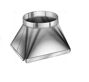 Royal Metal Products 16 x 16 x 14 in. Square to Round Transition with Flange R421F1616