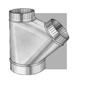 5 in. x 5 in. x 5 in. 28 ga Galvanized Steel Full Flow Wye with Crimp SHMFFY28SSS