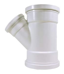 Multi-Fittings Corporation Trench Tough Plus™ 6 x 6 x 4 in. Gasket Sewer and Reducing SDR 35 PVC 45 Degree Wye MUL043