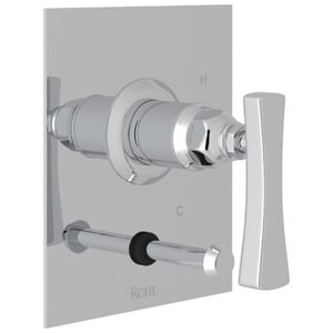 ROHL® Matheson™ Tub and Shower Pressure Balancing Valve Trim with Brass Single Lever Handle and Diverter in Polished Chrome RML2016LM