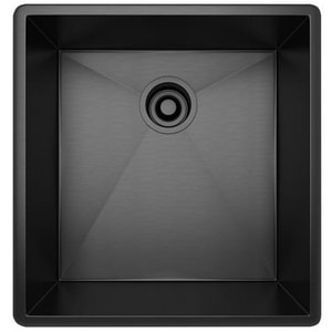 ROHL® 18-1/2 x 19-1/2 in. 16 ga 1-Hole 1-Bowl Undermount 304 Kitchen Sink with Rear Center in Black Stainless RRSS1718