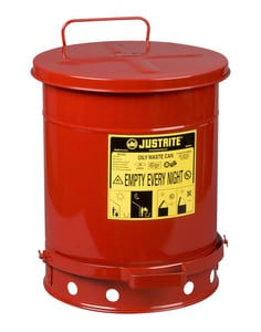 Justrite 13-47/50 in. 10 gal Oily Waste Can in Red J09300 at Pollardwater