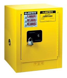 Justrite Sure-Grip® EX Countertop Cabinet Yellow 4 gal Manual Close JUS890400