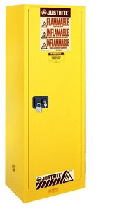 Justrite Sure-Grip® EX Slimline Safety Cabinet Yellow 22 gal Manual Close J892200 at Pollardwater