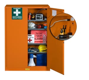Justrite Emergency Preparedness Safety Cabinet with Power Port Manual Close Orange J860002 at Pollardwater