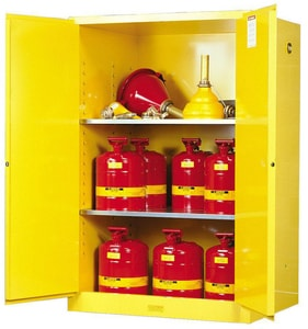 Justrite Sure-Grip® EX Classic Safety Cabinet Yellow 90 gal Manual Close JUS899000 at Pollardwater