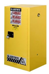Justrite Sure-Grip® EX Countertop Cabinet Yellow 15 gal Manual Close J891500