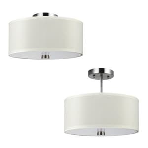 Seagull Lighting 26W 2-Light Compact Fluorescent GU24 Semi-Flush Mount Ceiling Fixture in Brushed Nickel S77262BLE962