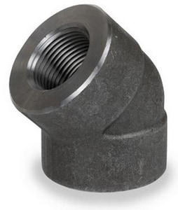 1/2 in. Threaded 2000# Carbon Steel Forged 45 Degree Elbow IFS2T4D
