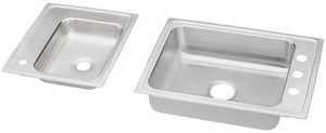Elkay Lustertone® 4-Hole 2-Basin Topmount Classroom Sink with High Arc Kitchen Faucet, Bubbler, Drain and Strainer EDRKAD2411950LC