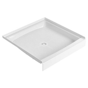 Fiat Products Cascade™ 34 in. Molded Stone® Shower Base with Center Drain in White F34WL100