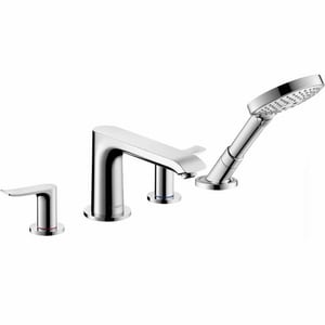 Hansgrohe Metris 1.75 gpm 4-Hole Deck Mount Roman Tub Set Trim with Double Lever Handle, Fixed Spout and Handshower H31404