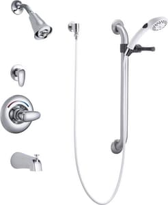 Delta Faucet 1.5 gpm 1-Function Wall Mount Pressure Balancing Universal Tub and Shower Faucet Trim with Single Lever Handle and Tub Spout in Polished Chrome DT13H982