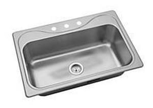 Sterling Southhaven® 3-Hole 1-Bowl Top Mount and Self Rimming Kitchen Sink in Stainless Steel S249123NA