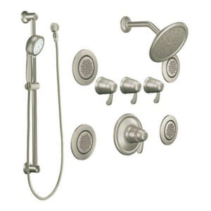 Moen ExactTemp® Vertical Spa Trim with Showerhead Body Spray and Hand Shower in Brushed Nickel MTS276BN