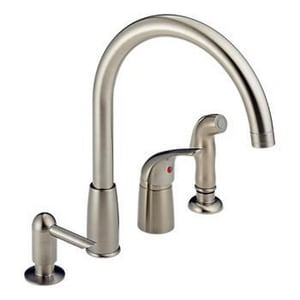 Peerless Faucet Kitchen Waterfall with Single-Handle and Soap Dispenser in Stainless Steel PP188900LFSD