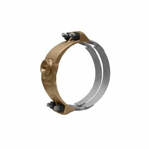 Mueller Company 8 x 1-1/2 in. CC Bronze and Stainless Steel Double Strap Saddle MBR2S0899CC
