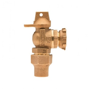 Mueller Company 5/8 x 1 in. Copper Flared Lock Nut Brass Angle Ball Valve Curb Stop MB24264NEG