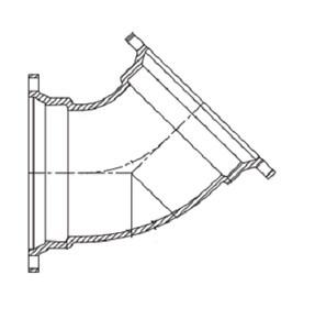 4 x 4 in. Union Tight x Plain End Ductile Iron C153 Short Body 45 Degree Bend DUTPE4P