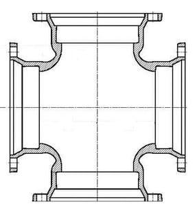 P-401 10 Ductile Iron 125# Flange P-401 Cross FCROSSP410